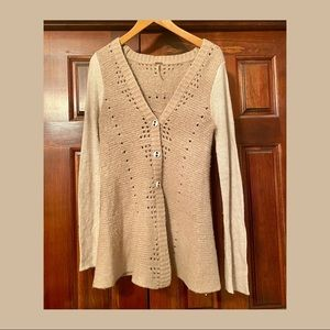 Free People Fit & Flare Cardigan w/ Lace Detail